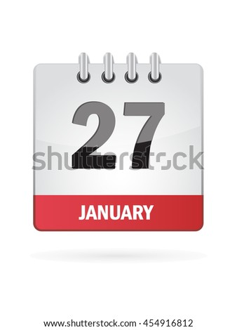January Twenty Seven. Calendar Icon
