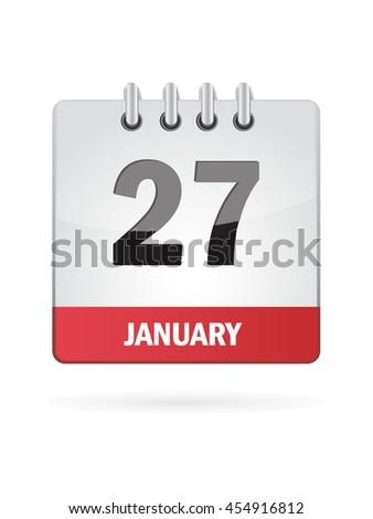 January Twenty Seven. Calendar Icon - stock vector
