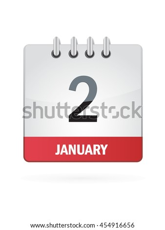 January Two. Calendar Icon - stock vector