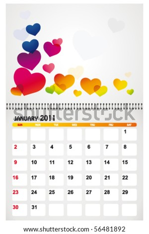 january 2011 with background - stock vector