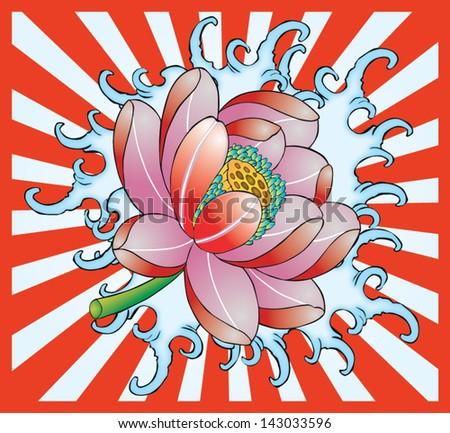 Japan Beautiful lotus - stock vector