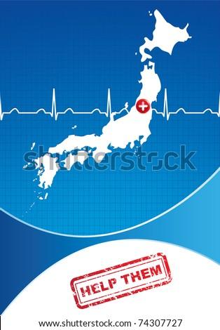 Japan Charity advertisement. Help Japan - stock vector