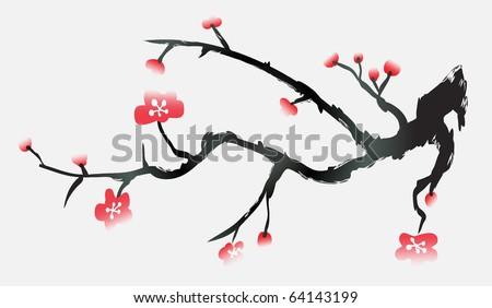 japan cherry blossom background - stock vector