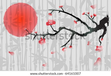 japan cherry blossom background with bamboo - stock vector