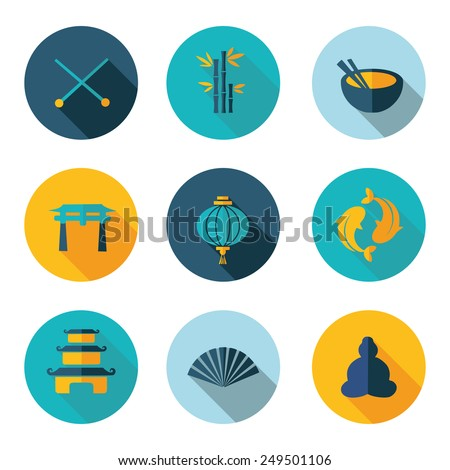 Japan,China,icons in vector format - stock vector