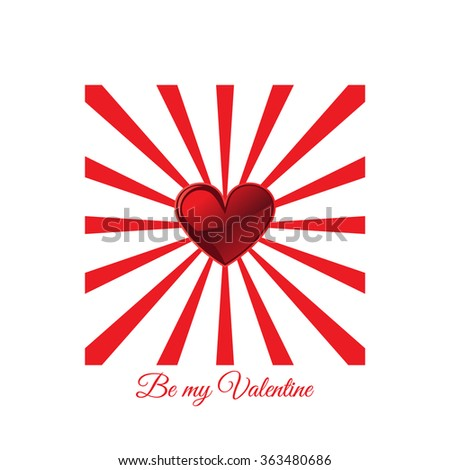 Japan flag with heart, symbol of love - stock vector
