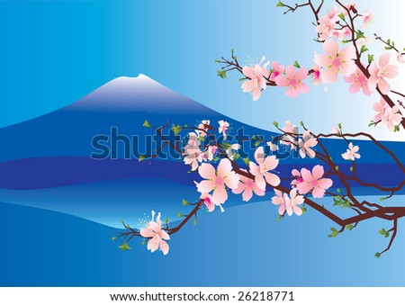japan fuji sakura - stock vector