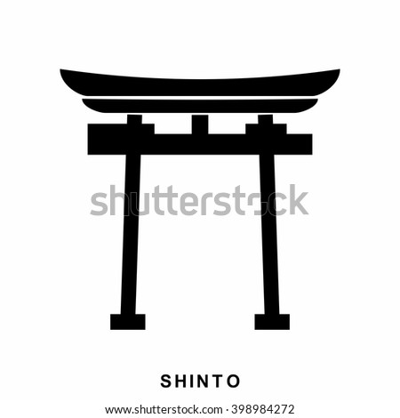 Japan Gate. Shinto - a symbol of Shintoism. Shinto icon in flat style isolated on white background - stock vector