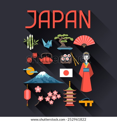 Japan icons and symbols set. Illustration on Japanese theme. - stock vector