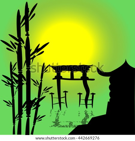 Japan in the afternoon, the sun in the sky, Japanese temple - stock vector