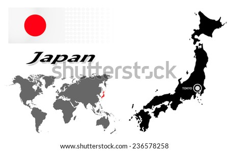 Japan info graphic flag location world stock vector 236578258 japan info graphic with flag location in world map map and the capital gumiabroncs Gallery