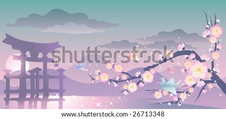 japan landscape - stock vector