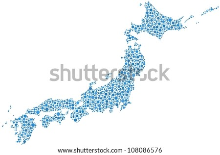 Japan map in a mosaic of blue circles. A number of 1495 bubbles are inserted into the mosaic - stock vector