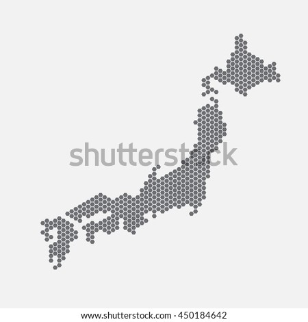 Japan map of gray hexahedrons