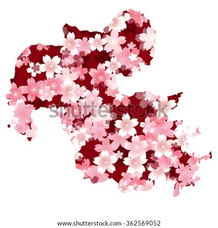 Japan map spring cherry blossoms