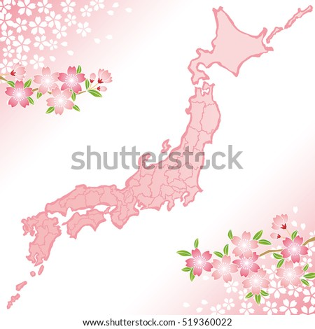 Japan map with cherry blossoms illustration.