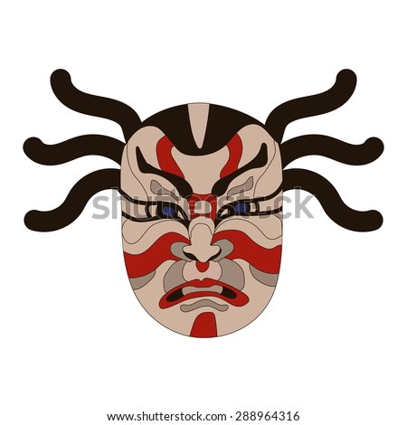 Japanese masks stock images royalty free images vectors for Kabuki mask template