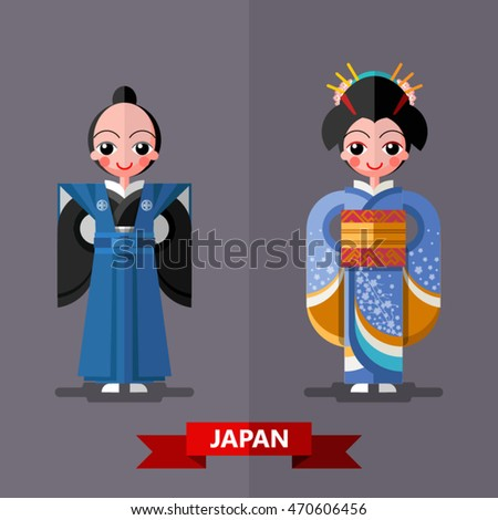 Japan national costumes in flat style.