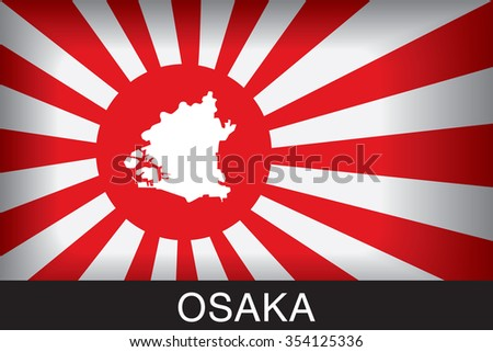 Japan Navy Flag An Navy Flag Japan with blue background and message, Osaka and map, vector art image illustration - stock vector