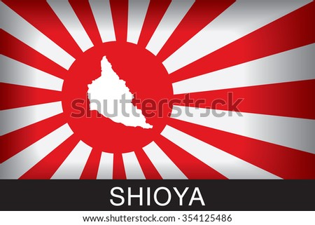 Japan Navy Flag An Navy Flag Japan with blue background and message, Shioya and map, vector art image illustration - stock vector