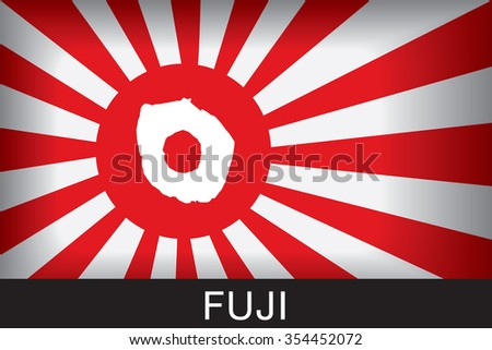 Japan Navy Flag An Navy Flag Japan with red background and message, Fuji and map, vector art image illustration  - stock vector