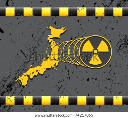 Japan- nuclear disaster - stock vector