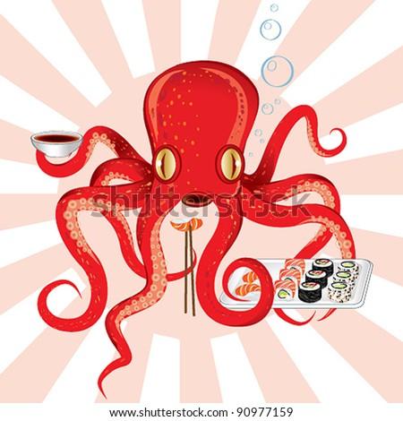 Japan octopus sushi feast - stock vector