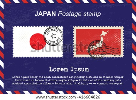 Japan postage stamp, postage stamp, vintage stamp, air mail envelope. - stock vector