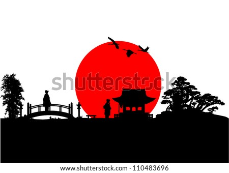 Japan Silhouette - stock vector
