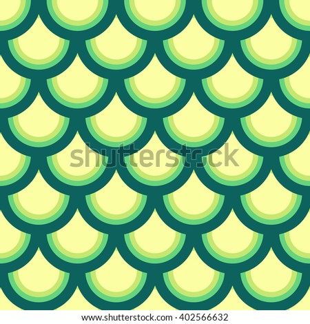 Japan-style wave seamless pattern in yellow, green and blue colors; vector background - stock vector