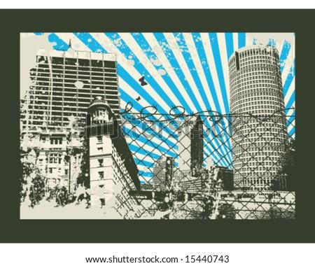 Japan sun retro city vector Illustration - stock vector