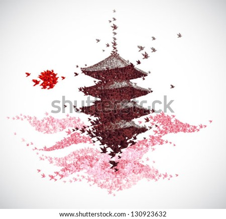 japan temple shaped from origami birds in spring - vector - stock vector