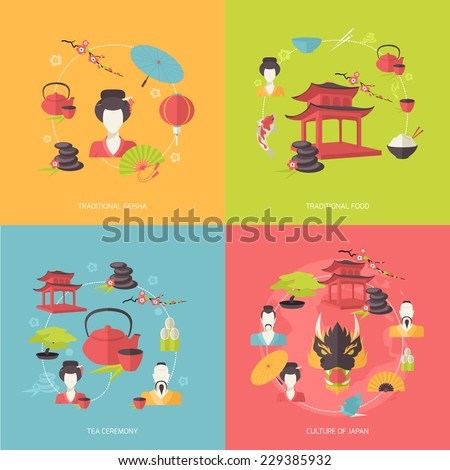 Japan travel icons flat set with traditional geisha food tea ceremony culture isolated vector illustration - stock vector