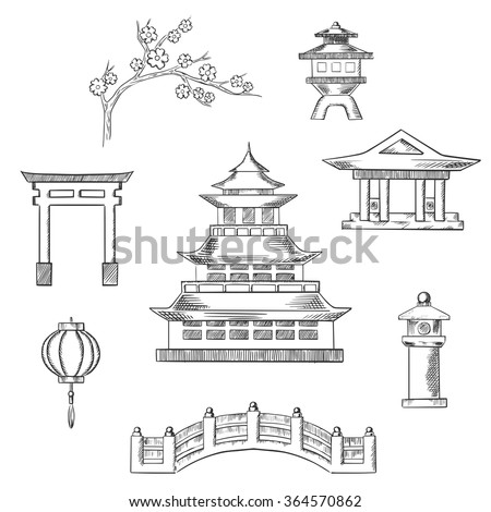 Japan travel icons in sketch style with traditional japanese pagoda surrounded by blossoming branch of sakura, torii gate, paper lantern, temple and bridge
