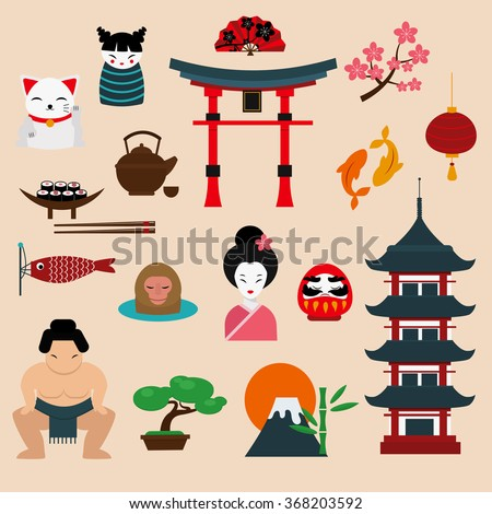 Japan travel vector illustration. Vacation time, Japan details. Sakura, Fujiyama, japan culture and traditional elements sign. Travel to Japan illustration vector icons