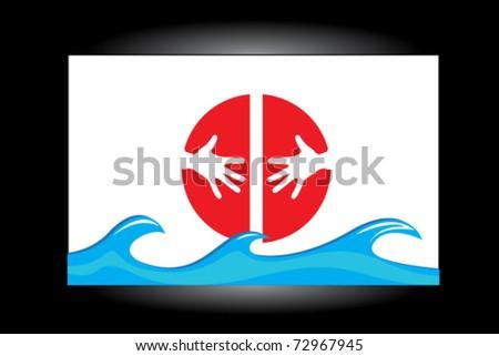 japan tsunami sign - stock vector