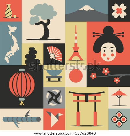 Japan Vector Flat Illustration Icon Set Landmark Background Bonsai Map World