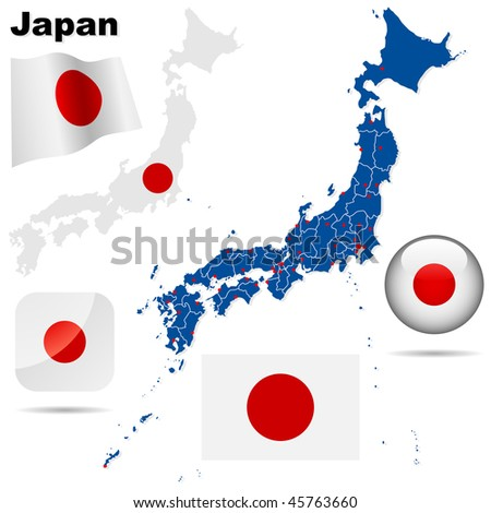 Japan vector set. Detailed country shape with region borders, flags and icons isolated on white background. - stock vector