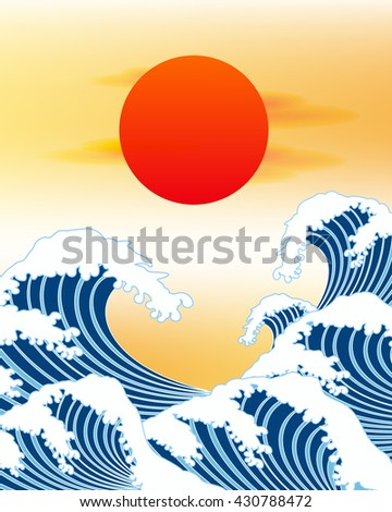japan wave and red sun vector - stock vector