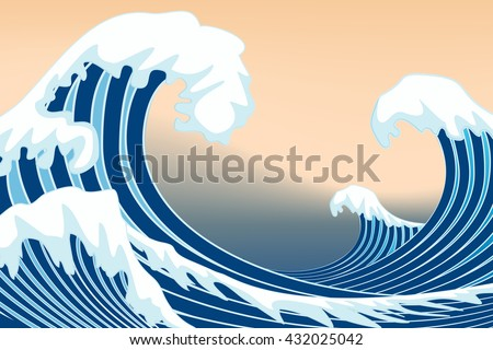 japan wave graphic vector - stock vector