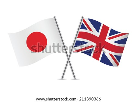 Japanese and British flags. Vector illustration. - stock vector
