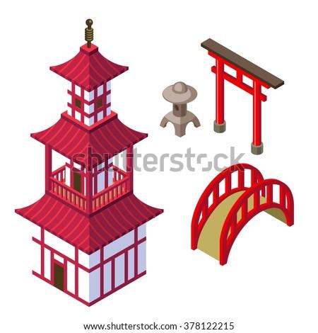 Japanese Architecture Isometric Set With Shinto Templegates Garden Lantern And Bridge