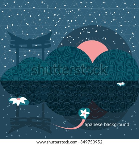 japanese background with geometrical shapes at night - stock vector