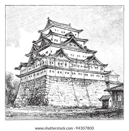 Japanese building (castle in Nagoya) / vintage illustration from Meyers Konversations-Lexikon 1897 - stock vector