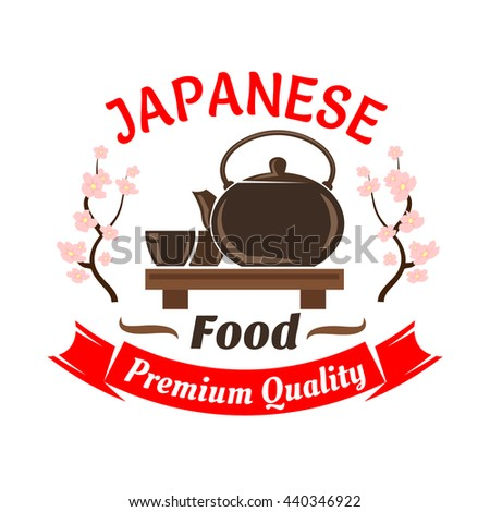 Japanese ceremonial tea set icon for oriental cuisine restaurant design with ceramic teapot and cups on wooden floor table, decorated by blooming sakura and ribbon banner - stock vector