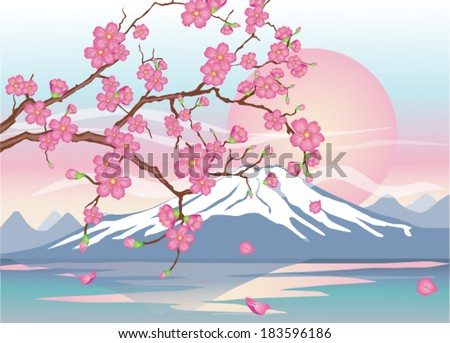 Japanese cherry-sakura on a background of Mount Fuji - stock vector