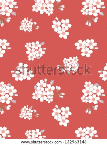 Japanese cherry seamless pattern. You can change the background - stock vector