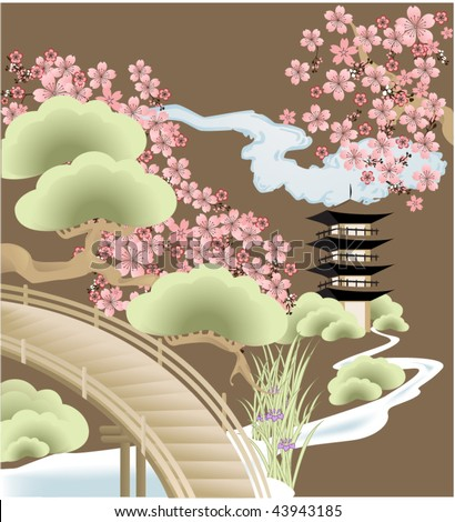 Japanese composition with pagoda and sakura - stock vector