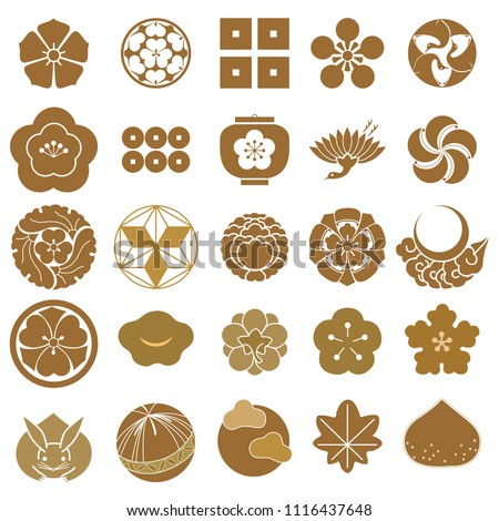 Japanese Crest Icons Vector Gold Flower Stock Vector Royalty Free