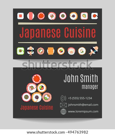 Japanese cuisine restaurant black business card both sides vector illustration
